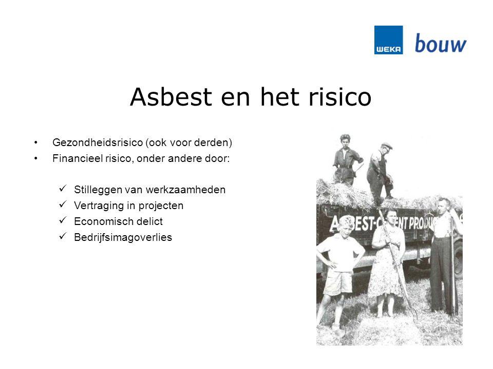 Asbest en het risico Gezondheidsrisico (ook voor derden) Financieel risico, onder andere door: Stilleggen van werkzaamheden Vertraging in projecten Economisch delict Bedrijfsimagoverlies