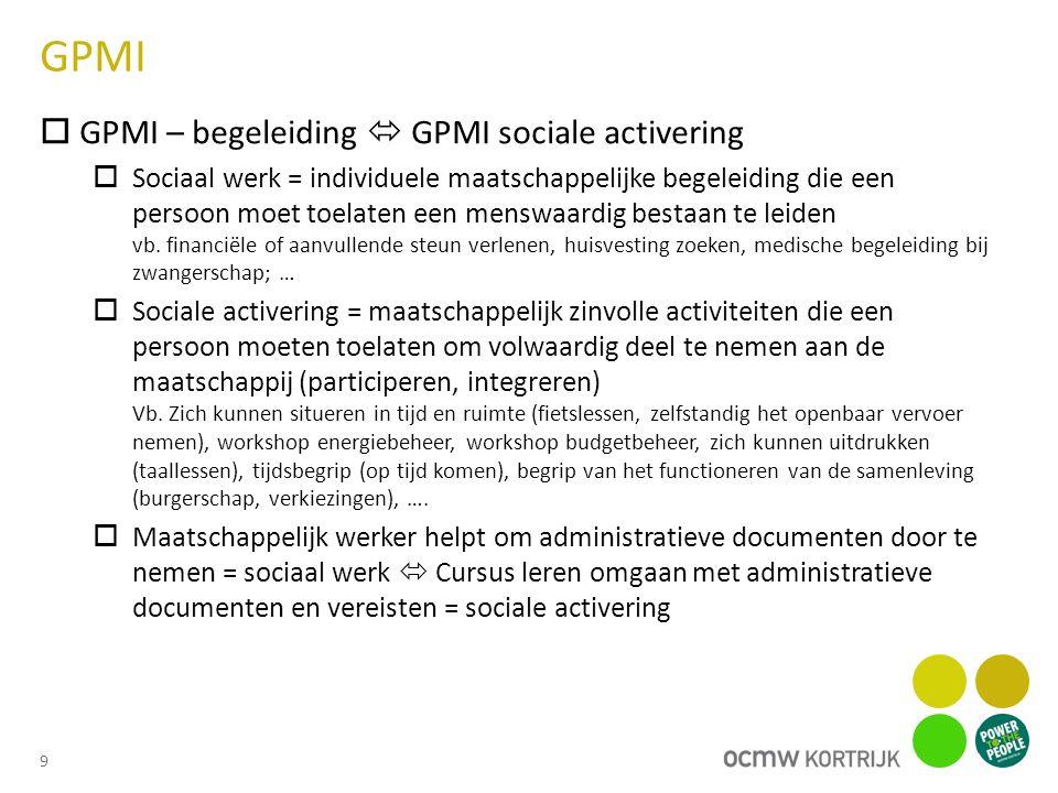 GPMI  GPMI – begeleiding  GPMI sociale activering  Sociaal werk = individuele maatschappelijke begeleiding die een persoon moet toelaten een menswaardig bestaan te leiden vb.