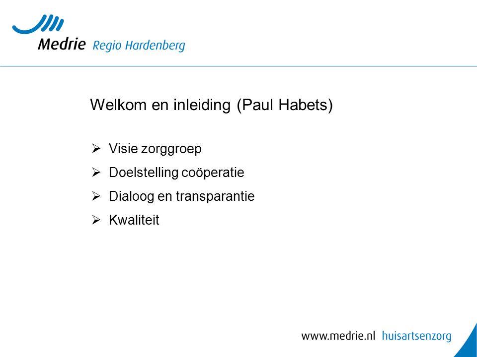 Welkom en inleiding (Paul Habets)  Visie zorggroep  Doelstelling coöperatie  Dialoog en transparantie  Kwaliteit