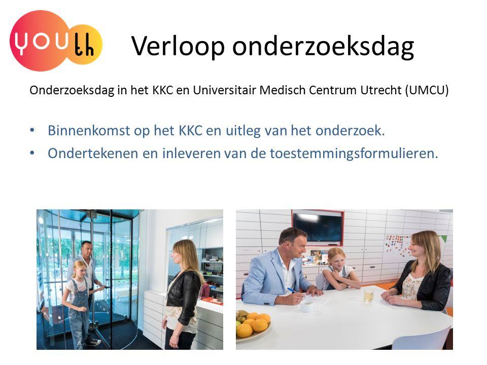 Verloop onderzoeksdag Onderzoeksdag in het KKC en Universitair Medisch Centrum Utrecht (UMCU) Binnenkomst op het KKC en uitleg van het onderzoek. Onde