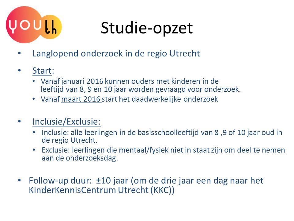 Studie-opzet Langlopend onderzoek in de regio Utrecht Start: Vanaf januari 2016 kunnen ouders met kinderen in de leeftijd van 8, 9 en 10 jaar worden g