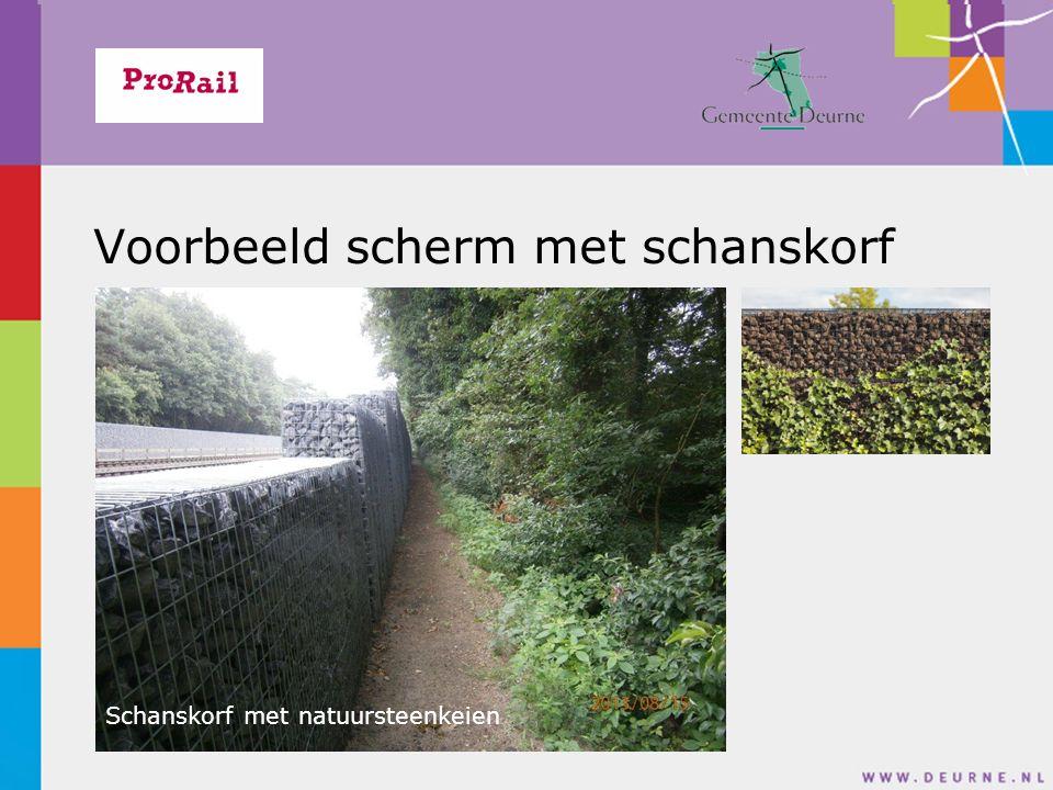 Voorbeeld scherm met schanskorf Schanskorf met natuursteenkeien