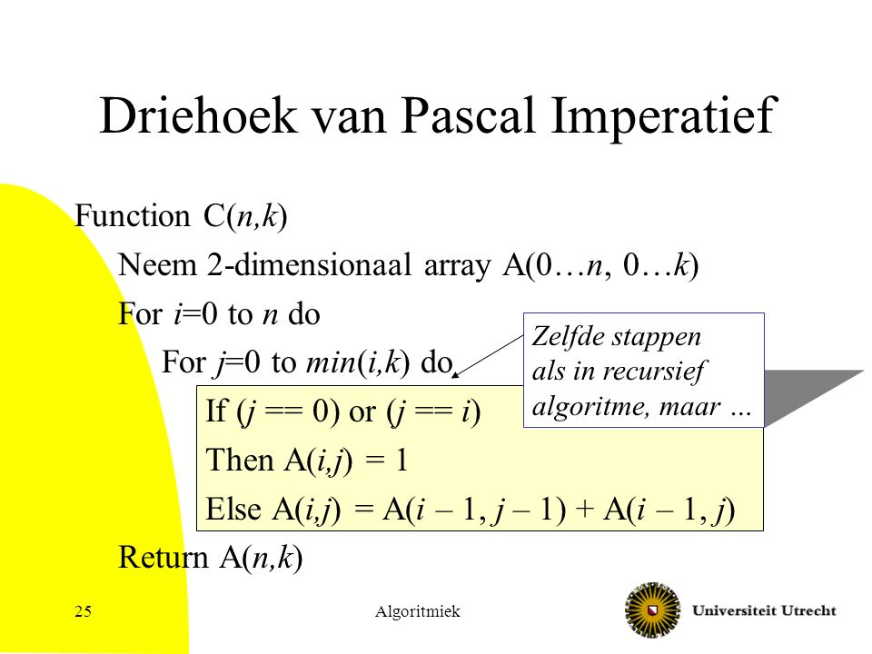 Algoritmiek25 Driehoek van Pascal Imperatief Function C(n,k) Neem 2-dimensionaal array A(0…n, 0…k) For i=0 to n do For j=0 to min(i,k) do If (j == 0)