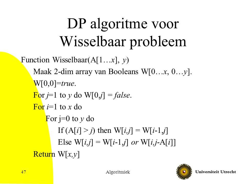 Algoritmiek47 DP algoritme voor Wisselbaar probleem Function Wisselbaar(A[1…x], y) Maak 2-dim array van Booleans W[0…x, 0…y].