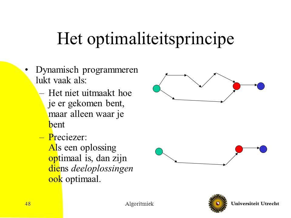 Algoritmiek48 Het optimaliteitsprincipe Dynamisch programmeren lukt vaak als: –Het niet uitmaakt hoe je er gekomen bent, maar alleen waar je bent –Preciezer: Als een oplossing optimaal is, dan zijn diens deeloplossingen ook optimaal.