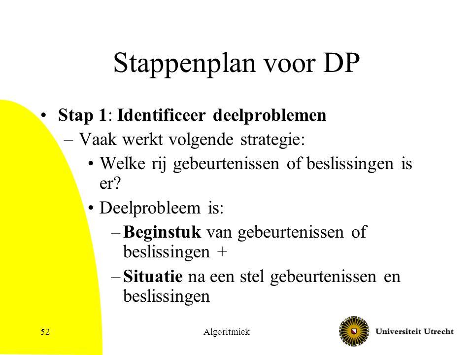 Algoritmiek52 Stappenplan voor DP Stap 1: Identificeer deelproblemen –Vaak werkt volgende strategie: Welke rij gebeurtenissen of beslissingen is er.