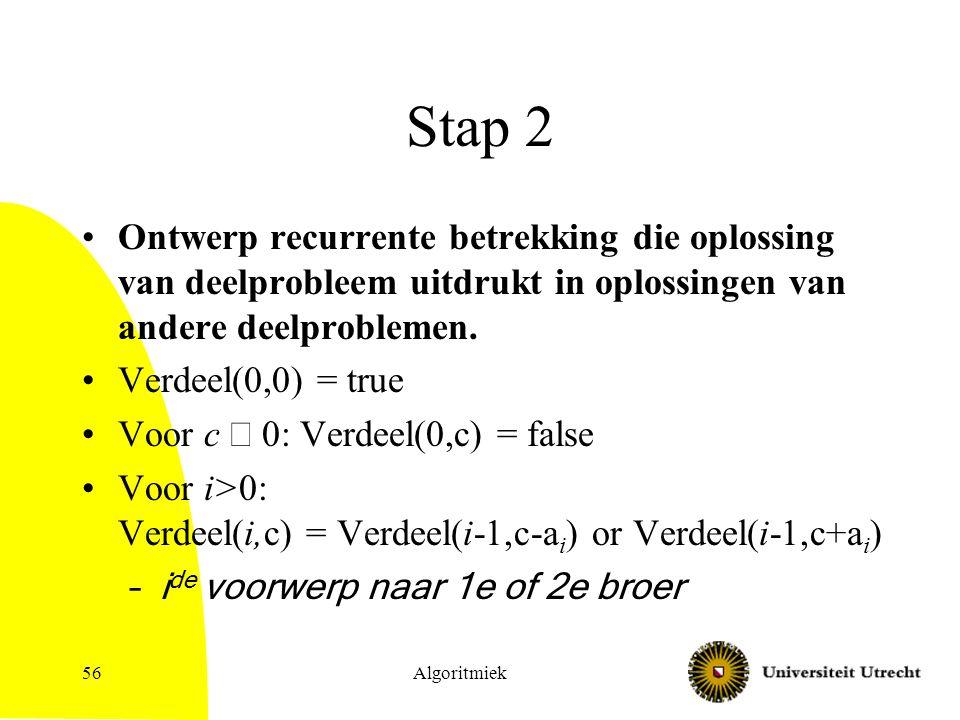 Algoritmiek56 Stap 2 Ontwerp recurrente betrekking die oplossing van deelprobleem uitdrukt in oplossingen van andere deelproblemen.