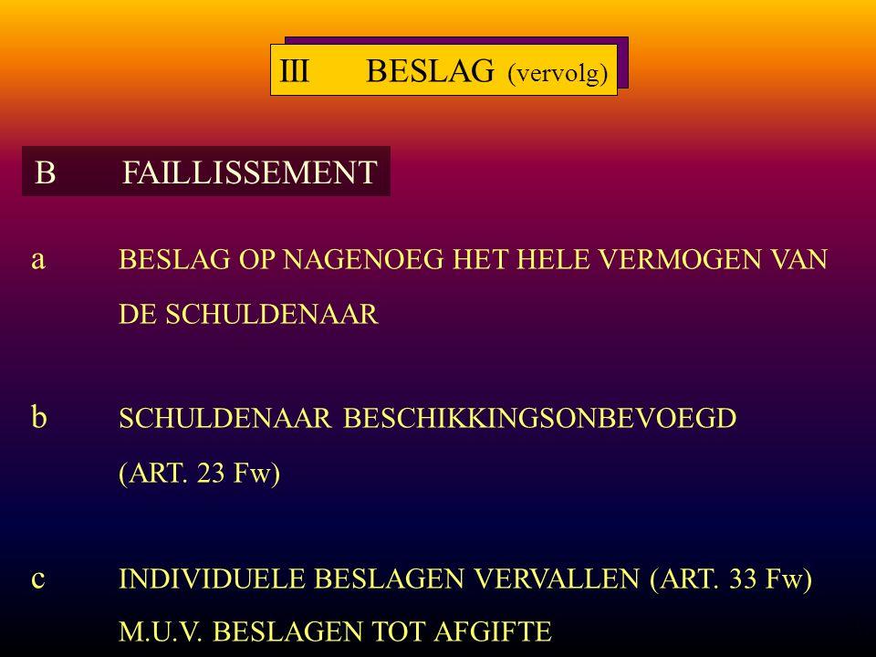 11 a BESLAG OP NAGENOEG HET HELE VERMOGEN VAN DE SCHULDENAAR b SCHULDENAAR BESCHIKKINGSONBEVOEGD (ART.