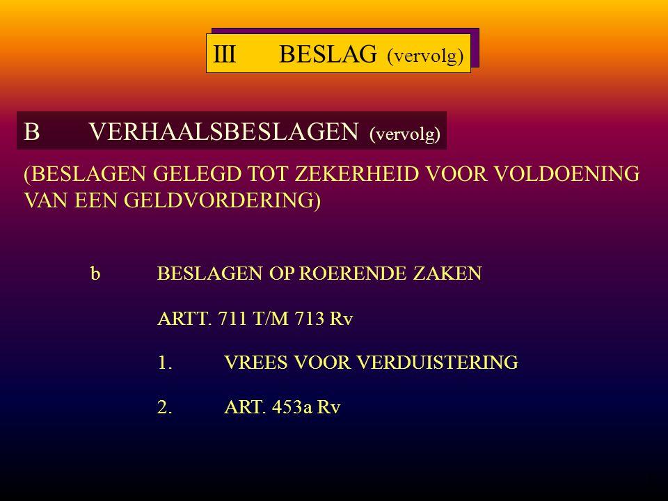 19 bBESLAGEN OP ROERENDE ZAKEN ARTT. 711 T/M 713 Rv 1.VREES VOOR VERDUISTERING 2.ART.