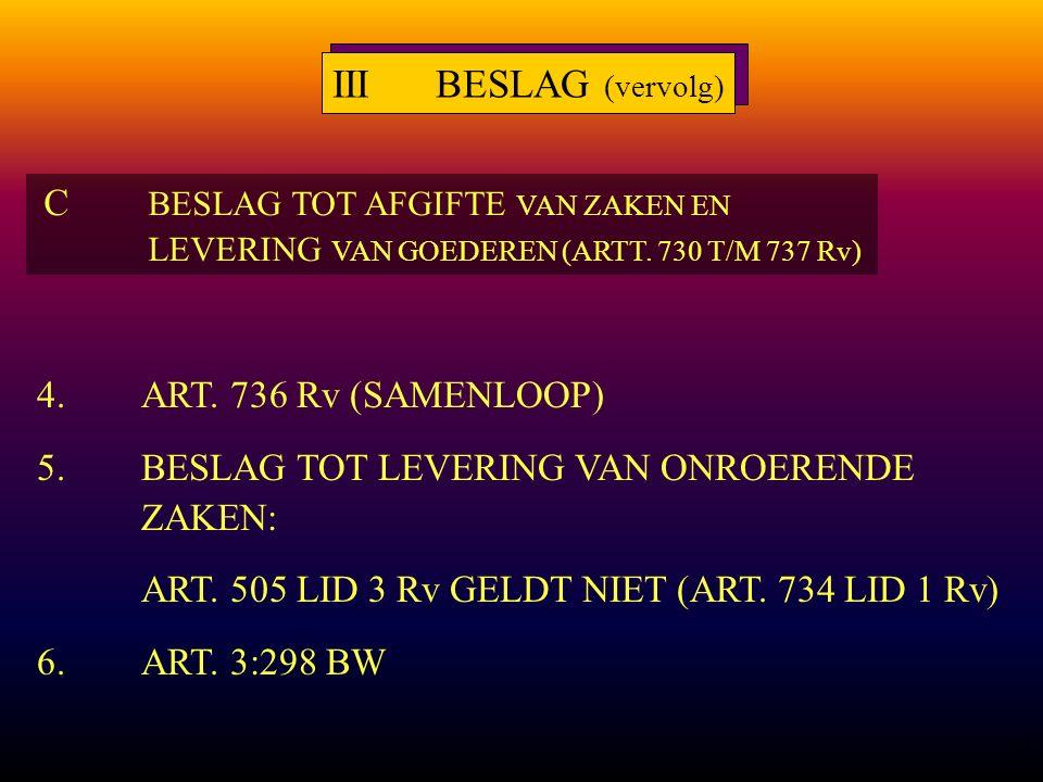 26 4.ART. 736 Rv (SAMENLOOP) 5.BESLAG TOT LEVERING VAN ONROERENDE ZAKEN: ART.