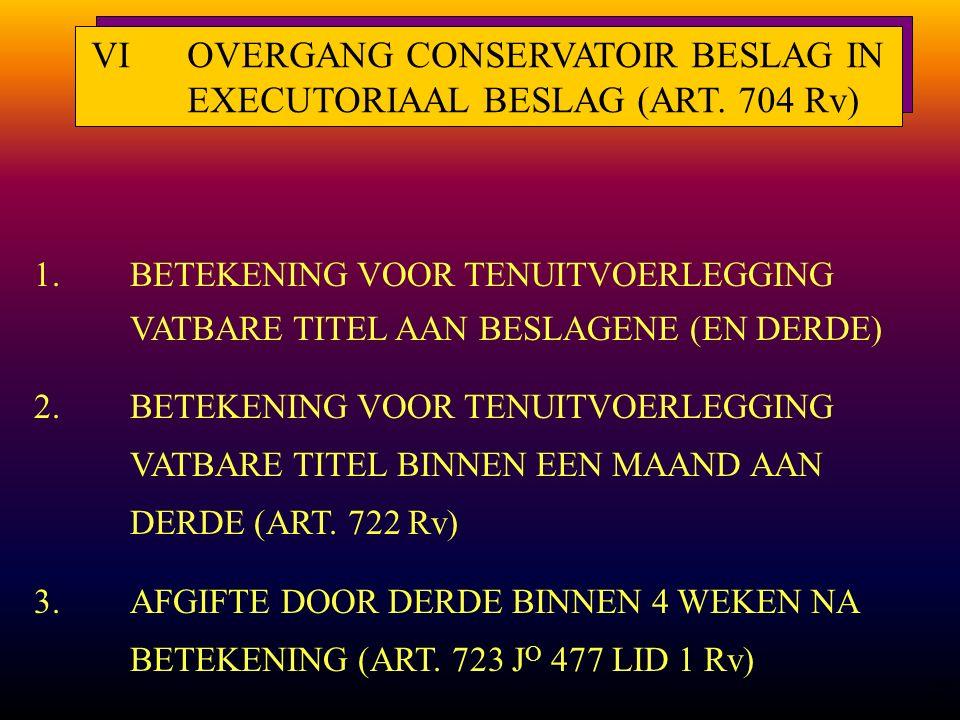 28 1.BETEKENING VOOR TENUITVOERLEGGING VATBARE TITEL AAN BESLAGENE (EN DERDE) 2.BETEKENING VOOR TENUITVOERLEGGING VATBARE TITEL BINNEN EEN MAAND AAN DERDE (ART.