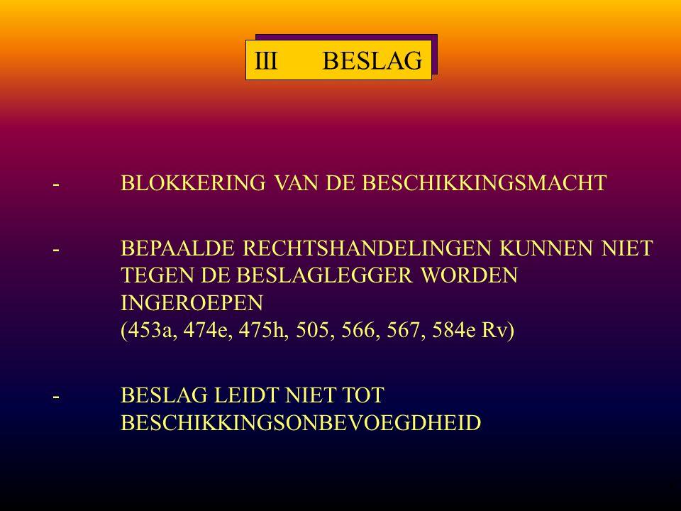 5 IIIBESLAG -BLOKKERING VAN DE BESCHIKKINGSMACHT -BEPAALDE RECHTSHANDELINGEN KUNNEN NIET TEGEN DE BESLAGLEGGER WORDEN INGEROEPEN (453a, 474e, 475h, 505, 566, 567, 584e Rv) -BESLAG LEIDT NIET TOT BESCHIKKINGSONBEVOEGDHEID