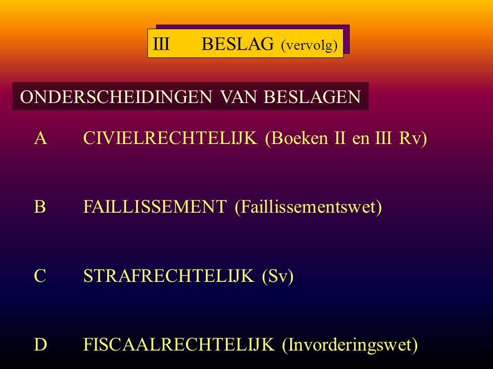 8 ONDERSCHEIDINGEN VAN BESLAGEN ACIVIELRECHTELIJK (Boeken II en III Rv) BFAILLISSEMENT (Faillissementswet) CSTRAFRECHTELIJK (Sv) DFISCAALRECHTELIJK (Invorderingswet) IIIBESLAG (vervolg)