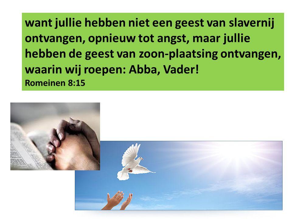 want jullie hebben niet een geest van slavernij ontvangen, opnieuw tot angst, maar jullie hebben de geest van zoon-plaatsing ontvangen, waarin wij roepen: Abba, Vader.