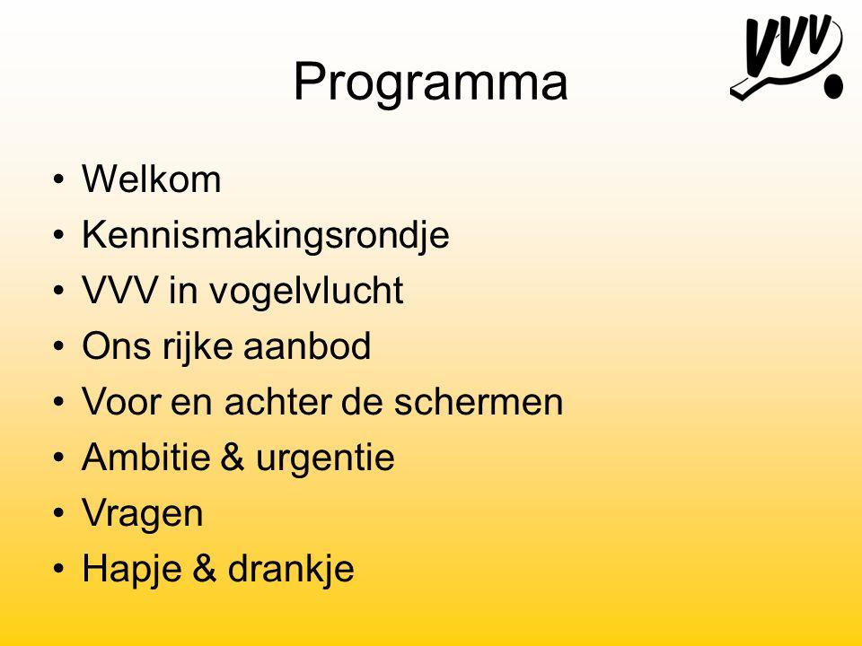 Programma Welkom Kennismakingsrondje VVV in vogelvlucht Ons rijke aanbod Voor en achter de schermen Ambitie & urgentie Vragen Hapje & drankje