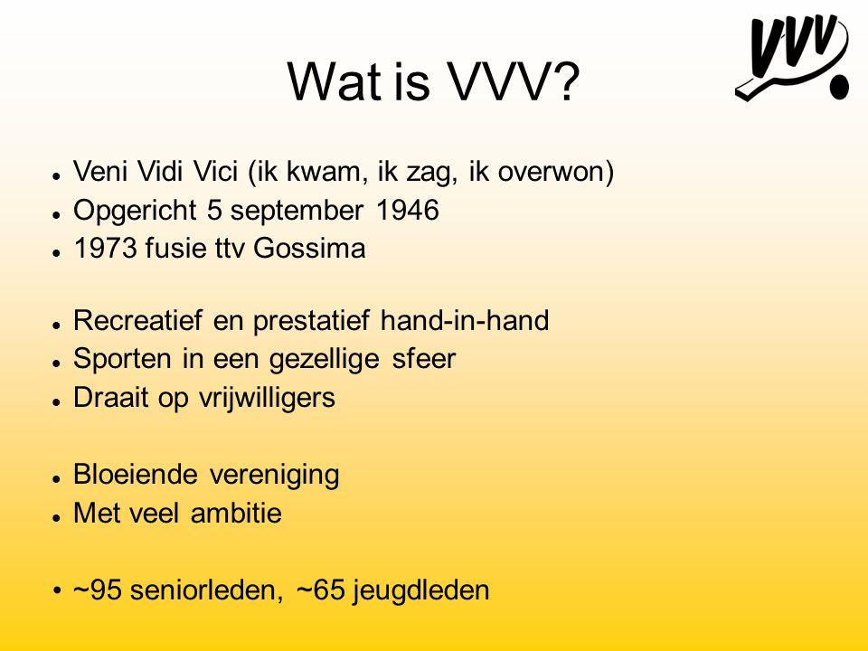 Wat is VVV? Veni Vidi Vici (ik kwam, ik zag, ik overwon) Opgericht 5 september 1946 1973 fusie ttv Gossima Recreatief en prestatief hand-in-hand Sport
