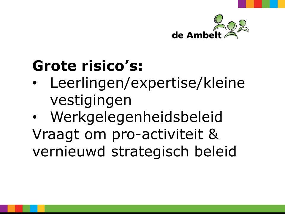Grote risico's: Leerlingen/expertise/kleine vestigingen Werkgelegenheidsbeleid Vraagt om pro-activiteit & vernieuwd strategisch beleid
