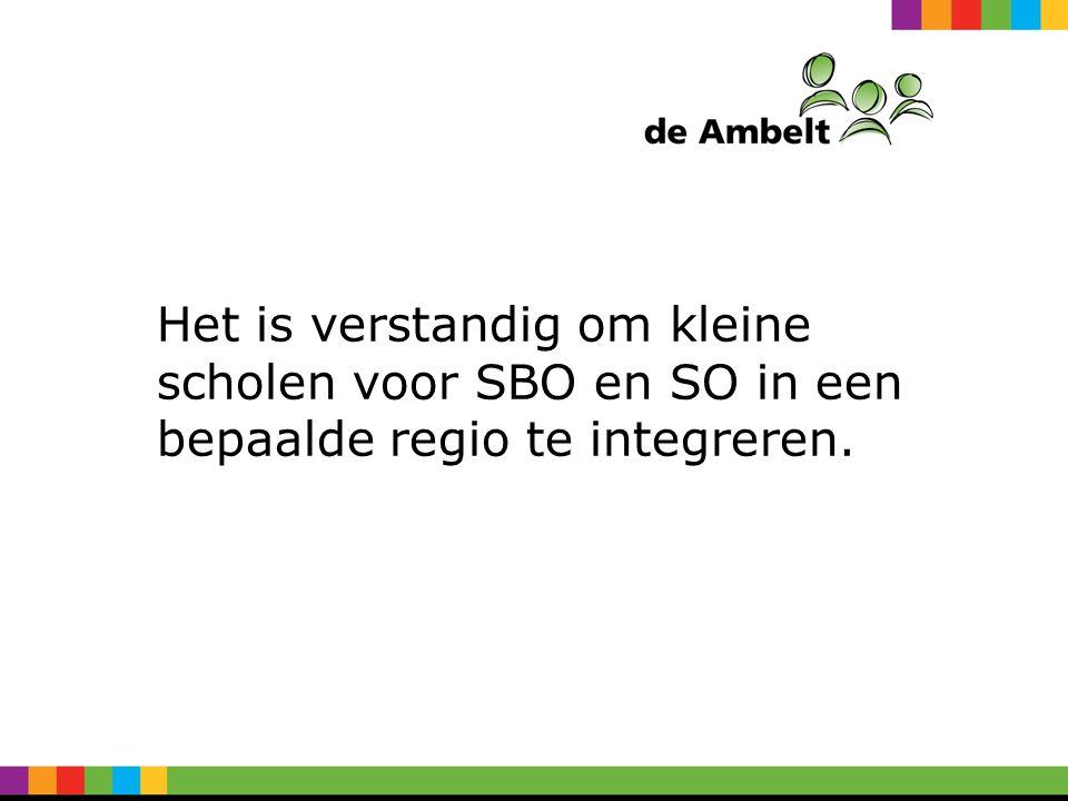 Het is verstandig om kleine scholen voor SBO en SO in een bepaalde regio te integreren.
