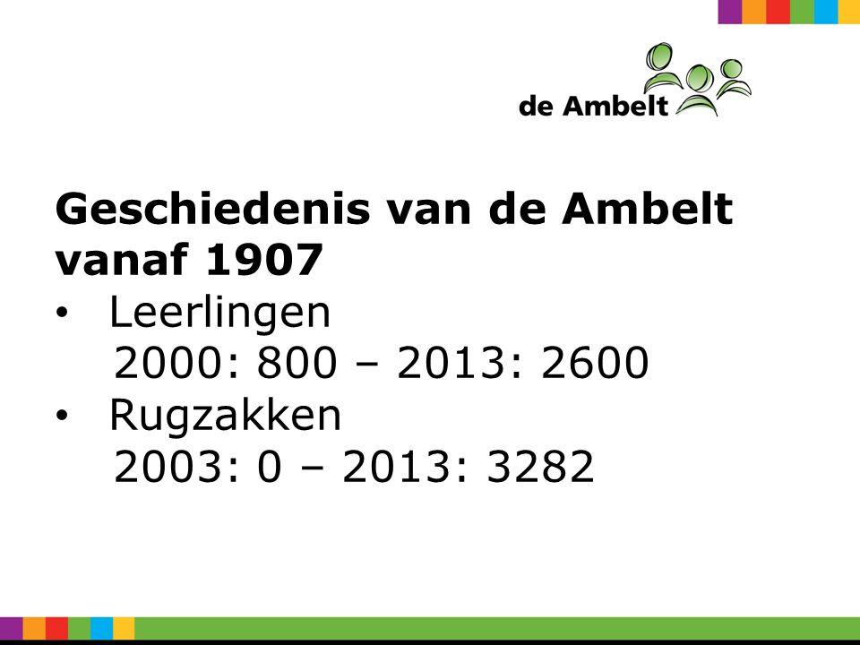 Geschiedenis van de Ambelt vanaf 1907 Leerlingen 2000: 800 – 2013: 2600 Rugzakken 2003: 0 – 2013: 3282