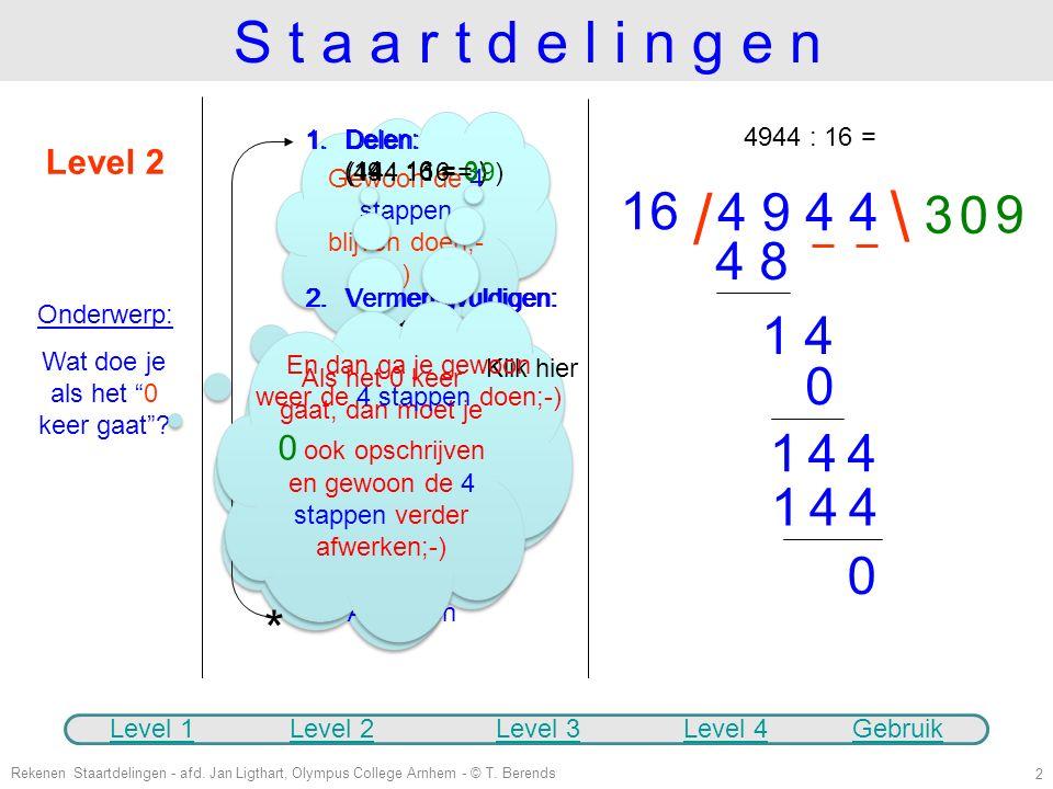 Rekenen Staartdelingen - afd. Jan Ligthart, Olympus College Arnhem - © T. Berends 1 S t a a r t d e l i n g e n Level 1 Onderwerp: Hoe werkt een gewon