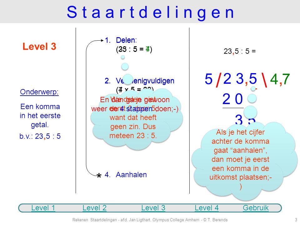 """Level 2 Onderwerp: Wat doe je als het """"0 keer gaat""""? Gewoon de 4 stappen blijven doen;- ) 1.Delen: (49 : 16 = 3) 2.Vermenigvuldigen: (3 x 16 = 48) We"""