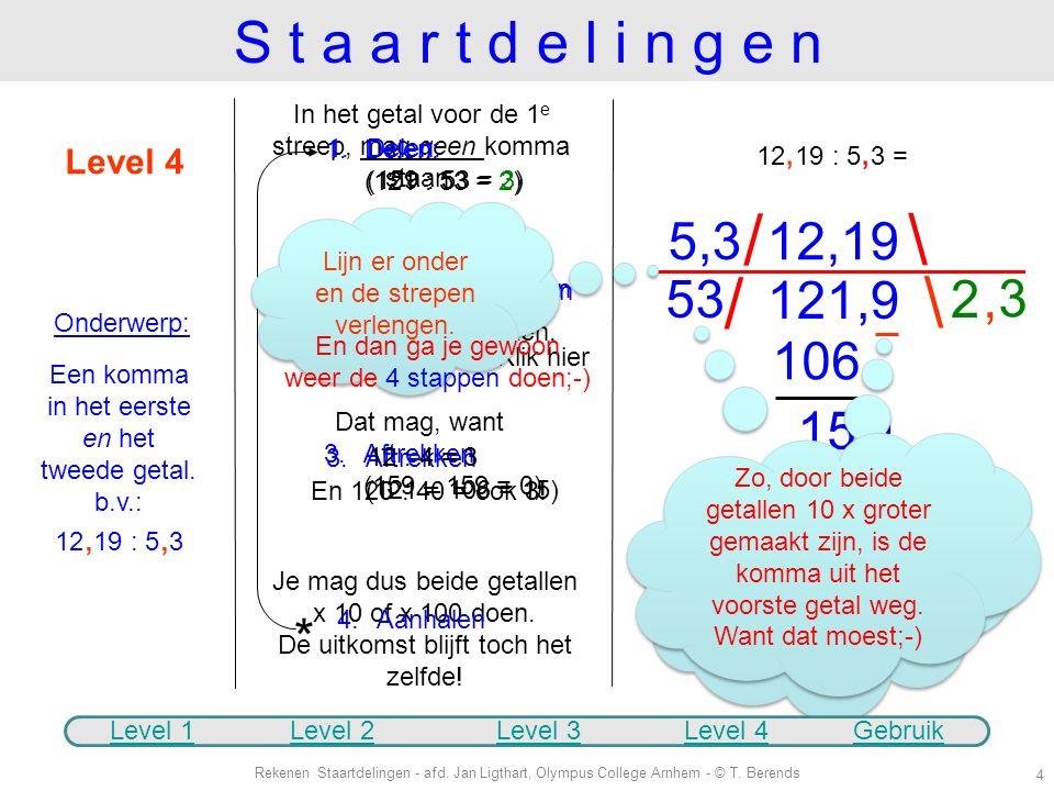 1.Delen: (23 : 5 = 4) 1.Delen (35 : 5 = 7) * Rekenen Staartdelingen - afd. Jan Ligthart, Olympus College Arnhem - © T. Berends 3 2 3, 5 23, 5 : 5 = 4