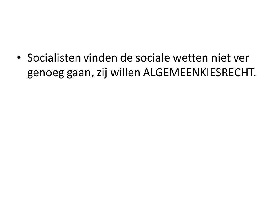 Socialisten vinden de sociale wetten niet ver genoeg gaan, zij willen ALGEMEENKIESRECHT.