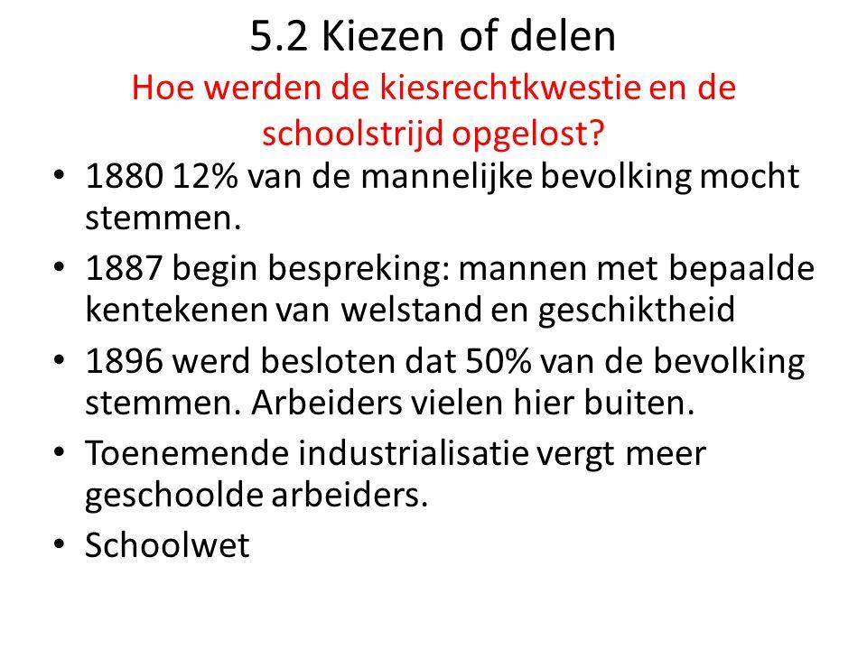 5.2 Kiezen of delen Hoe werden de kiesrechtkwestie en de schoolstrijd opgelost.