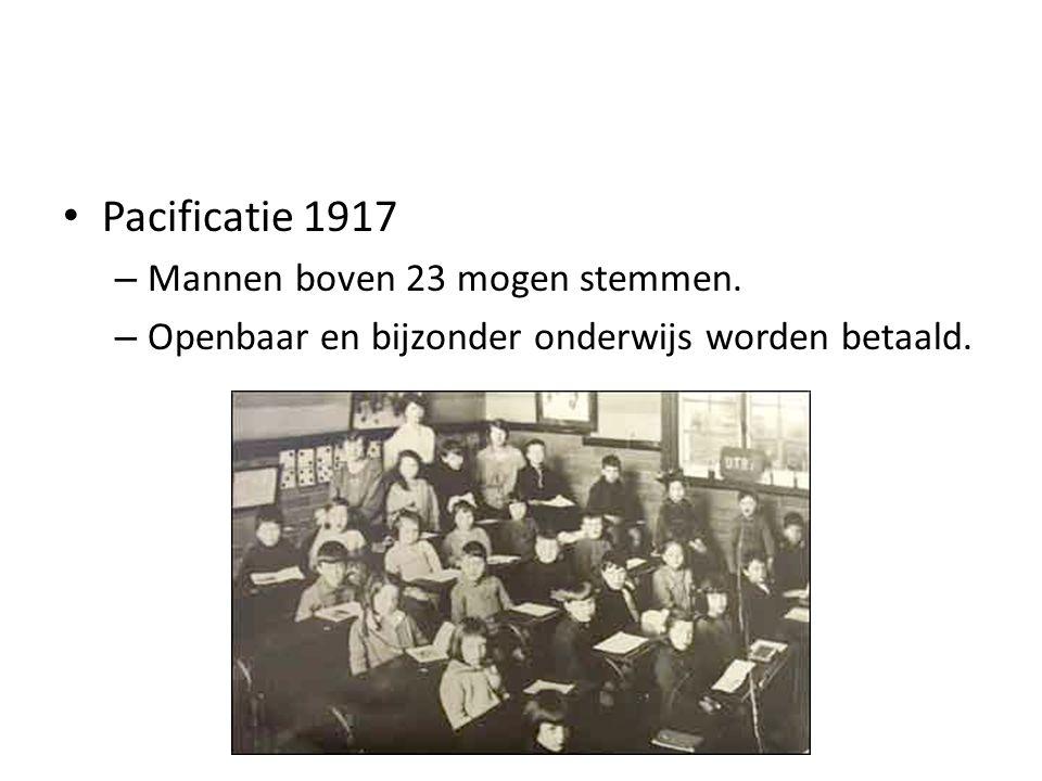 Pacificatie 1917 – Mannen boven 23 mogen stemmen. – Openbaar en bijzonder onderwijs worden betaald.
