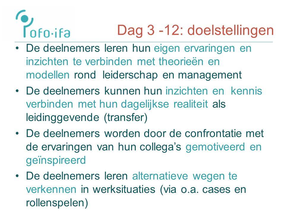 Dag 3 -12: doelstellingen De deelnemers leren hun eigen ervaringen en inzichten te verbinden met theorieën en modellen rond leiderschap en management De deelnemers kunnen hun inzichten en kennis verbinden met hun dagelijkse realiteit als leidinggevende (transfer) De deelnemers worden door de confrontatie met de ervaringen van hun collega's gemotiveerd en geïnspireerd De deelnemers leren alternatieve wegen te verkennen in werksituaties (via o.a.