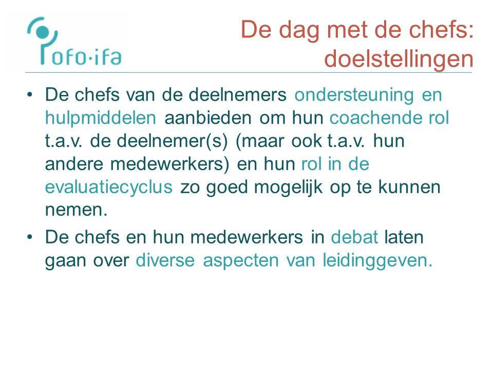 De dag met de chefs: doelstellingen De chefs van de deelnemers ondersteuning en hulpmiddelen aanbieden om hun coachende rol t.a.v.