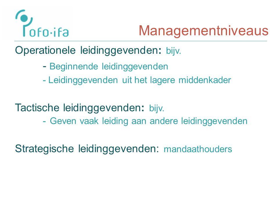 Managementniveaus Operationele leidinggevenden: bijv.