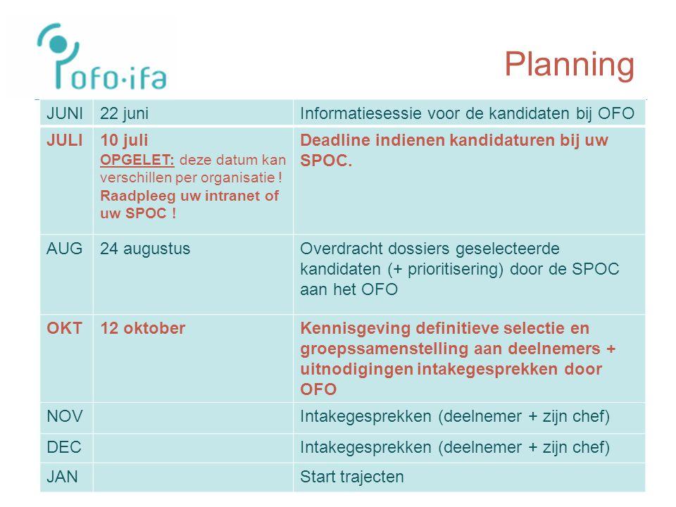 Planning JUNI22 juniInformatiesessie voor de kandidaten bij OFO JULI10 juli OPGELET: deze datum kan verschillen per organisatie .