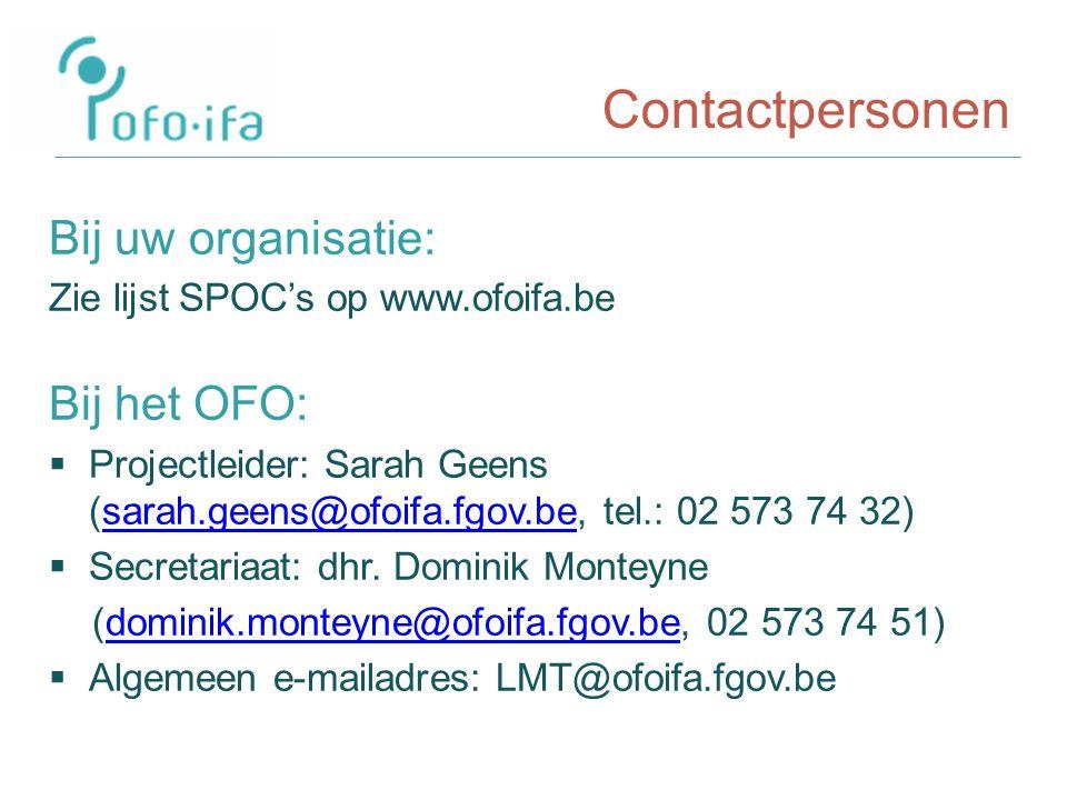 Contactpersonen Bij uw organisatie: Zie lijst SPOC's op www.ofoifa.be Bij het OFO:  Projectleider: Sarah Geens (sarah.geens@ofoifa.fgov.be, tel.: 02 573 74 32)sarah.geens@ofoifa.fgov.be  Secretariaat: dhr.