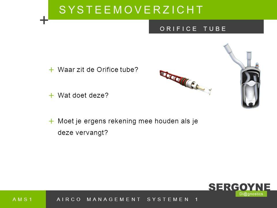 AMS1AIRCO MANAGEMENT SYSTEMEN 1 SYSTEEMOVERZICHT + ORIFICE TUBE Waar zit de Orifice tube.