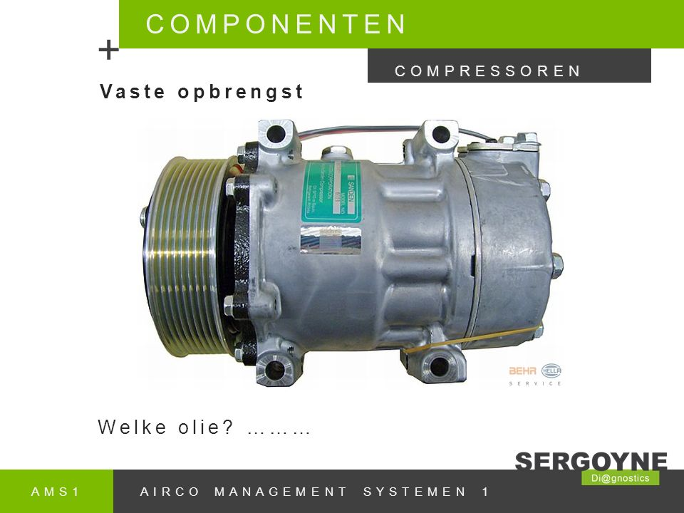 AMS1AIRCO MANAGEMENT SYSTEMEN 1 COMPONENTEN + COMPRESSOREN Vaste opbrengst Welke olie? ………