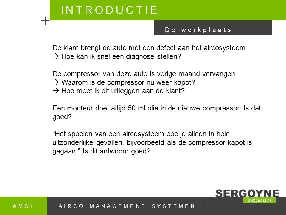 AMS1AIRCO MANAGEMENT SYSTEMEN 1 INTRODUCTIE + De klant brengt de auto met een defect aan het aircosysteem.