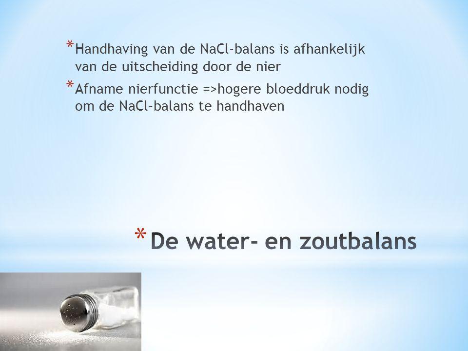 * Handhaving van de NaCl-balans is afhankelijk van de uitscheiding door de nier * Afname nierfunctie =>hogere bloeddruk nodig om de NaCl-balans te han