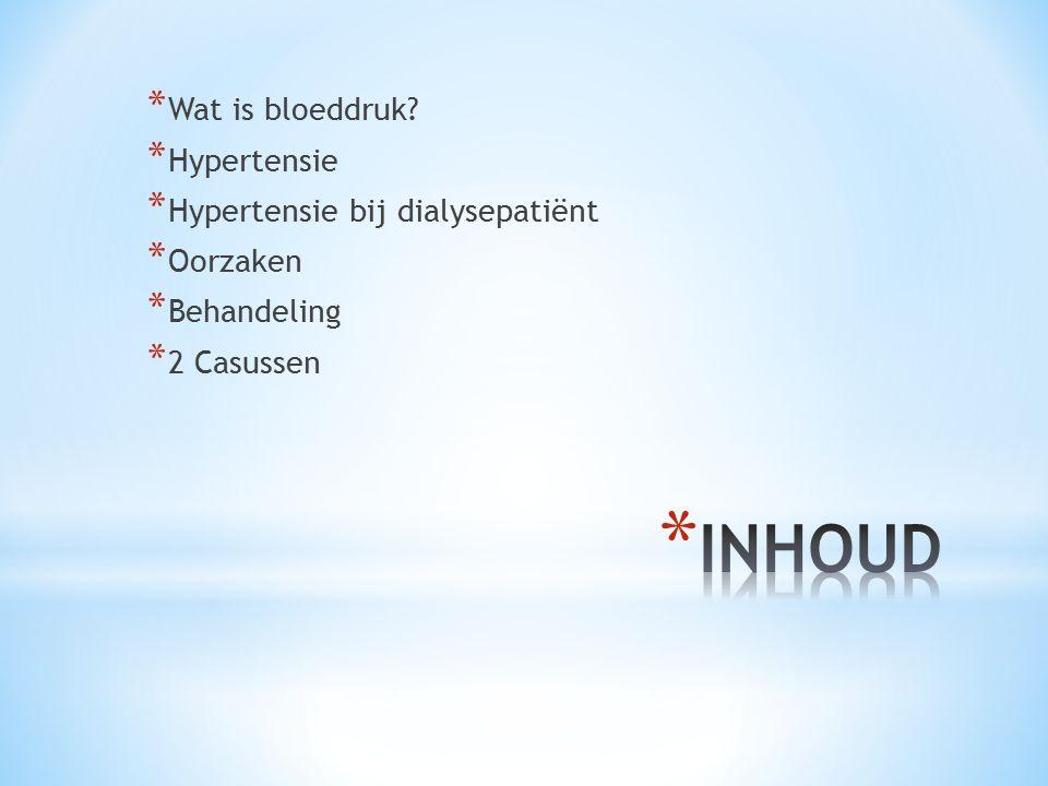 * Wat is bloeddruk? * Hypertensie * Hypertensie bij dialysepatiënt * Oorzaken * Behandeling * 2 Casussen