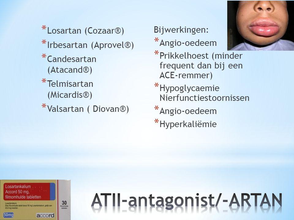 * Losartan (Cozaar®) * Irbesartan (Aprovel®) * Candesartan (Atacand®) * Telmisartan (Micardis®) * Valsartan ( Diovan®) Bijwerkingen: * Angio-oedeem *