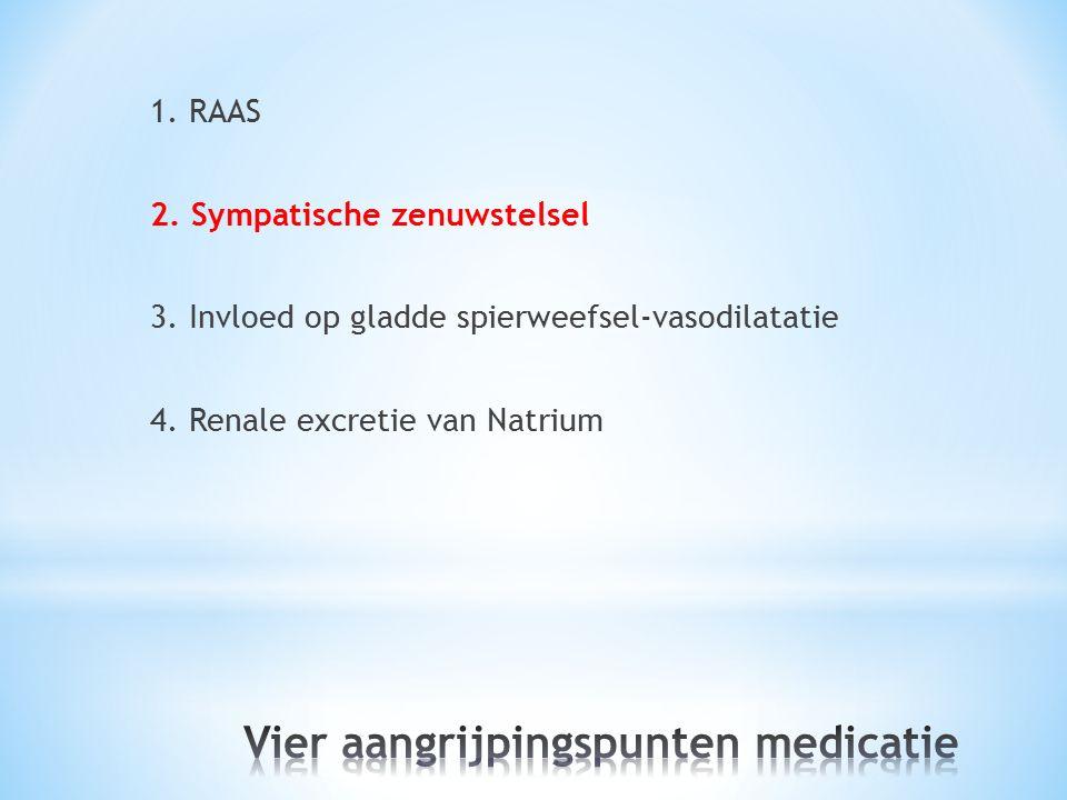 1. RAAS 2. Sympatische zenuwstelsel 3. Invloed op gladde spierweefsel-vasodilatatie 4. Renale excretie van Natrium
