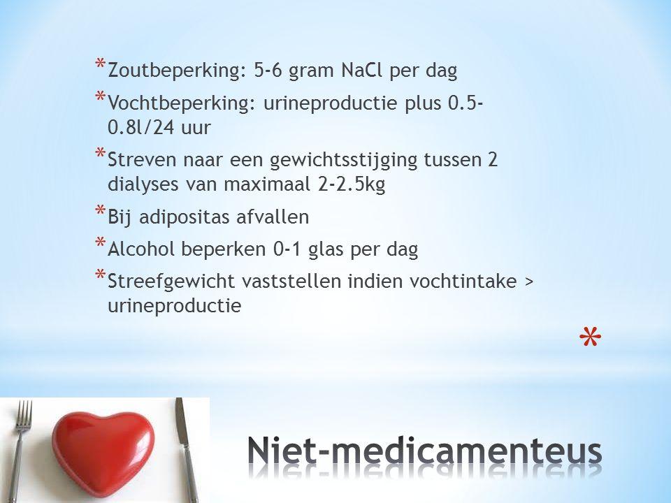 * Zoutbeperking: 5-6 gram NaCl per dag * Vochtbeperking: urineproductie plus 0.5- 0.8l/24 uur * Streven naar een gewichtsstijging tussen 2 dialyses va