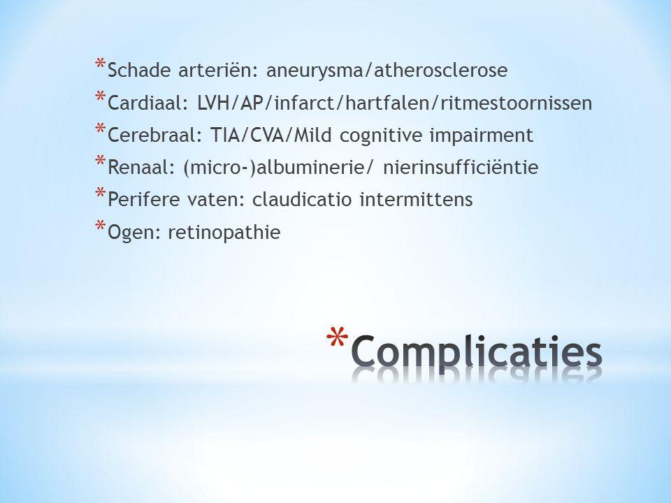 * Schade arteriën: aneurysma/atherosclerose * Cardiaal: LVH/AP/infarct/hartfalen/ritmestoornissen * Cerebraal: TIA/CVA/Mild cognitive impairment * Ren