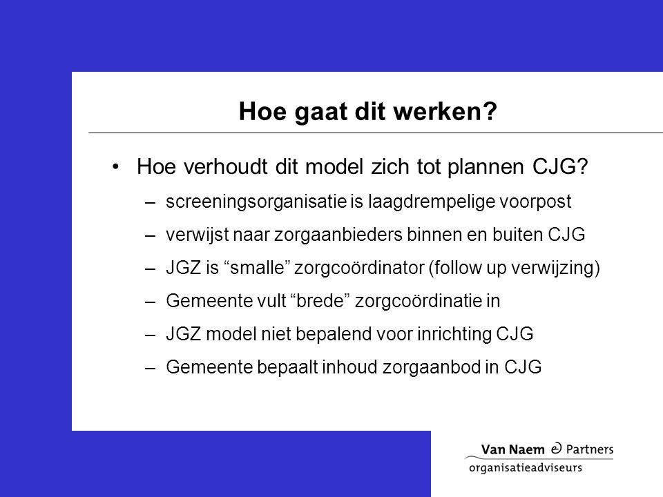 Hoe gaat dit werken. Hoe verhoudt dit model zich tot plannen CJG.