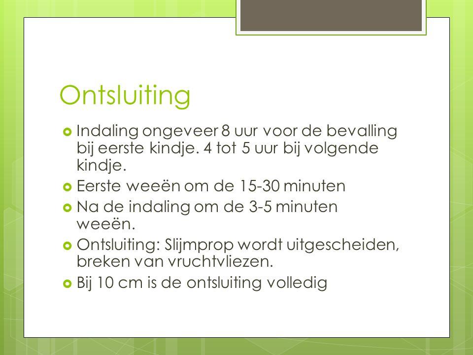 Ontsluiting  Indaling ongeveer 8 uur voor de bevalling bij eerste kindje. 4 tot 5 uur bij volgende kindje.  Eerste weeën om de 15-30 minuten  Na de
