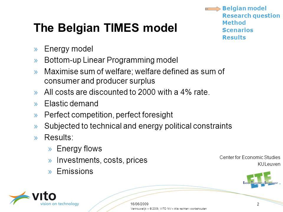 Vertrouwelijk – © 2009, VITO NV – Alle rechten voorbehouden Belgian model Research question Method Scenarios Results 16/06/2009 2 The Belgian TIMES mo