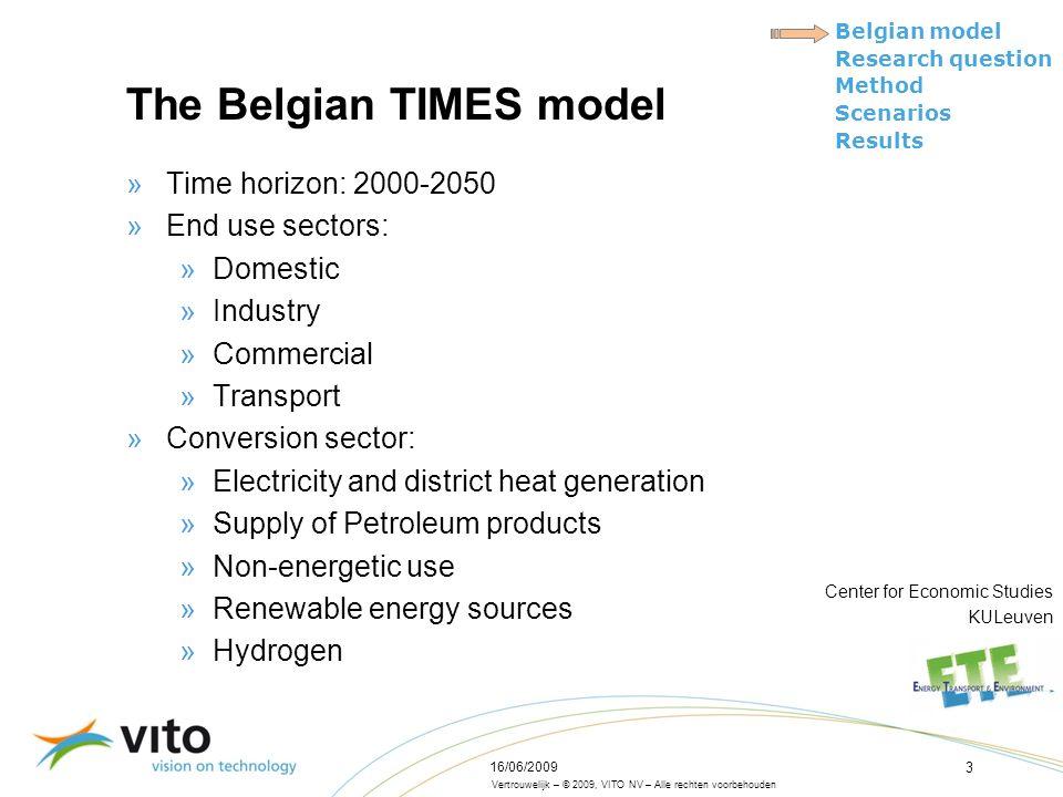 Vertrouwelijk – © 2009, VITO NV – Alle rechten voorbehouden Belgian model Research question Method Scenarios Results 16/06/2009 3 The Belgian TIMES mo