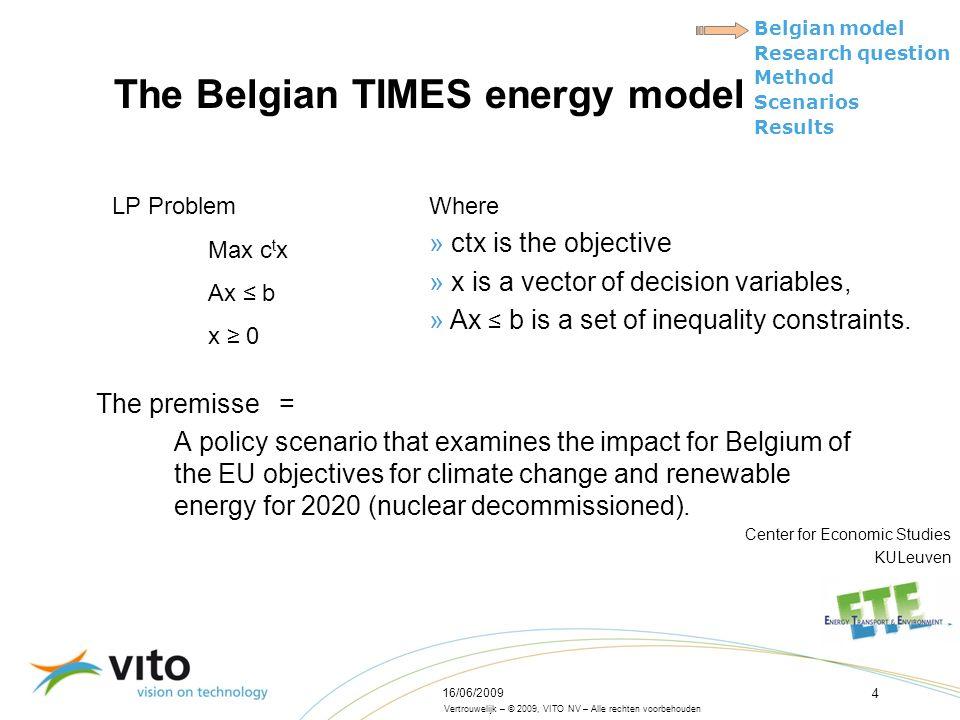 Vertrouwelijk – © 2009, VITO NV – Alle rechten voorbehouden Belgian model Research question Method Scenarios Results 16/06/2009 4 The Belgian TIMES en