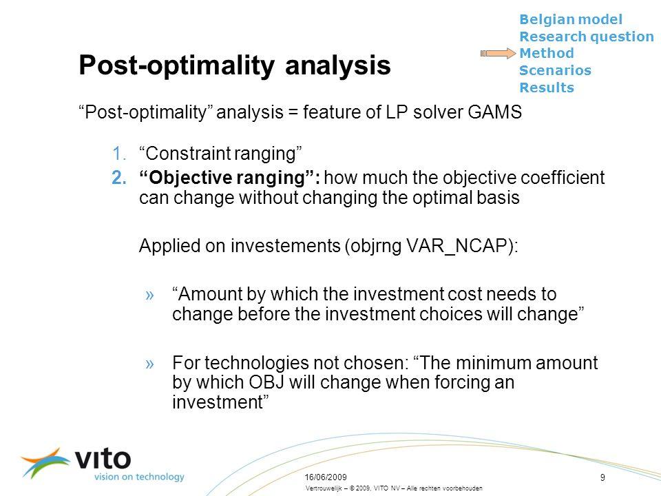 Vertrouwelijk – © 2009, VITO NV – Alle rechten voorbehouden Belgian model Research question Method Scenarios Results 16/06/2009 9 Post-optimality anal