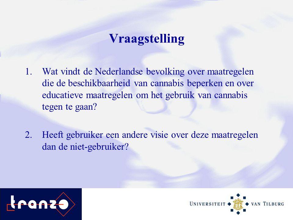 Vraagstelling 1.Wat vindt de Nederlandse bevolking over maatregelen die de beschikbaarheid van cannabis beperken en over educatieve maatregelen om het gebruik van cannabis tegen te gaan.